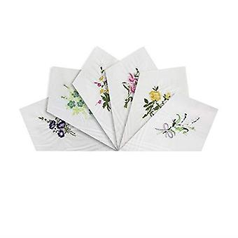 Womens/Ladies Handkerchiefs White Cotton Floral Embroidered Collection, Gift Boxed
