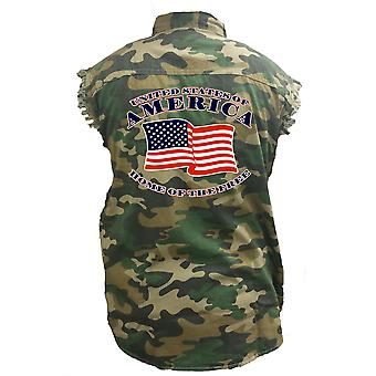 Men's Camo Sleeveless Denim Shirt United States Of America, Home Of The Free