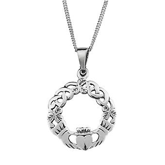 "Celtic Irish Claddagh Amore fedeltà amicizia rotondo collana ciondolo - include 20"" catena"