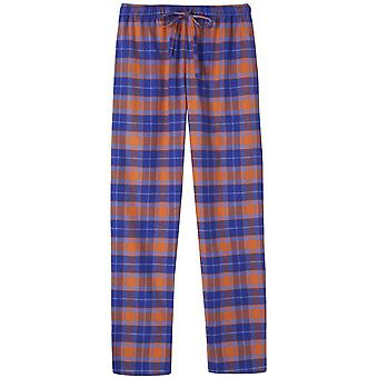 British Boxers Tangerine Dream Two Fold Flannel Pyjama Trousers - Orange/Blue
