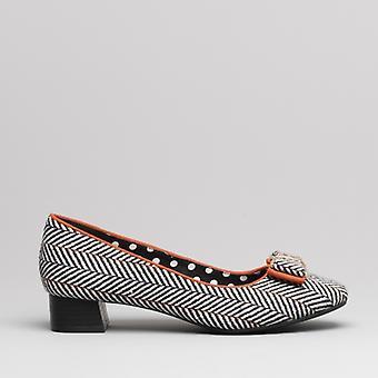 Ruby Shoo June Ladies Mid Heel Shoes Tweed