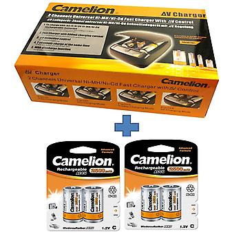Camelion battery charger CM-9388 + 4x batteries type D,  for type AAA,AA,C,D,9V