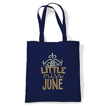 Little Miss June Tote | Happy Birthday Celebration Party Getting Older | Reusable Shopping Cotton Canvas Long Handled Natural Shopper Eco-Friendly Fashion
