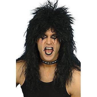 Long Black Frizzy Wig, Hard Rocker Wig, 1970's, 1980's Fancy Dress Accessory