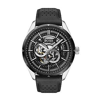 Hugo Boss Uhr 1513748 - Grand Prix myota Automatik Box Stahl schwarzes Zifferblatt und grau Herren schwarz Lederarmband