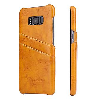 Para samsung Galaxy S8 Case, deluxe durável capa de couro protetor, amarelo