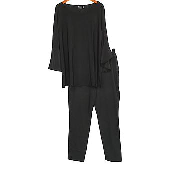 Women with Control Set Tall Flounce Sleeve Top & Ankle Pant Black A302300