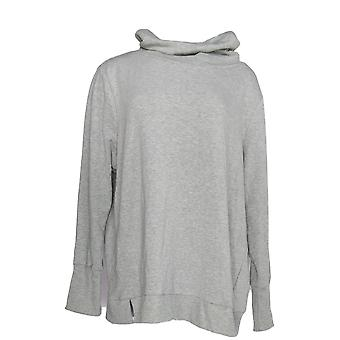 Anybody Women's Plus Sweater Plush Terry Cowl-Neck Gray A345169