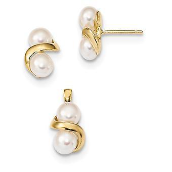 14k 5 6mm White Button Zoetwater Gekweekte Pearl Oorbellen en Hanger Set Sieraden Geschenken voor vrouwen