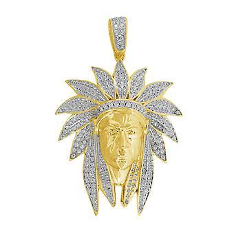 Sarı ton 925 Sterling Gümüş Erkek Yuvarlak CZ Kübik Zirkon Simüle Elmas Hint Küme Moda Charm Kolye Boyun