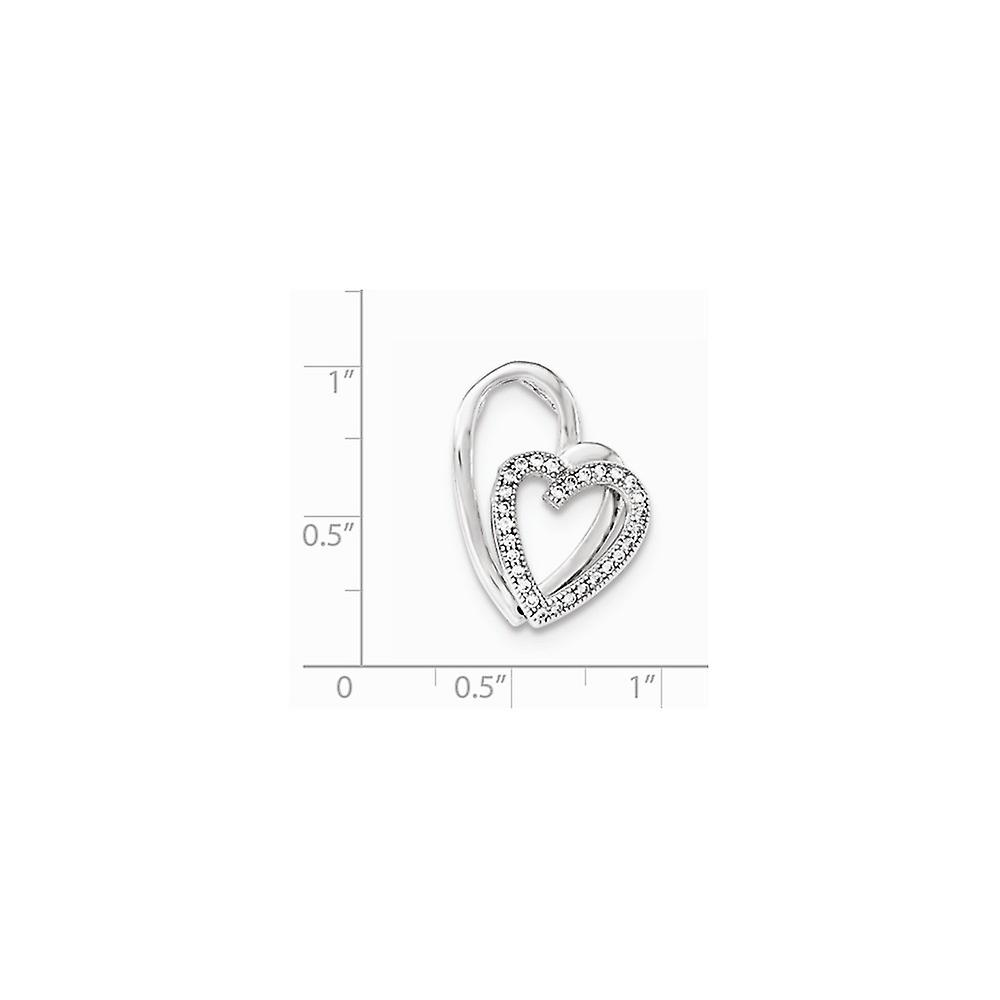 925 Sterling Silver Polished CZ Cubic Zirconia Simulated Diamond Double Love Heart Pendant Necklace Jewelry Gifts for Wo