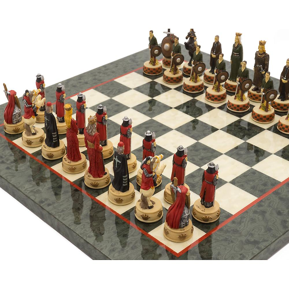 The England vs Scotland Hand Painted Themed Luxury Olive Chess Set By Italfama