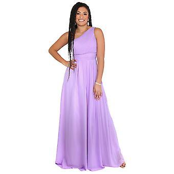 KRISP المرأة ماكسي اللباس الرسمي واحد قبالة الكتف ثوب الشيفون مساء حفل زفاف 8-20