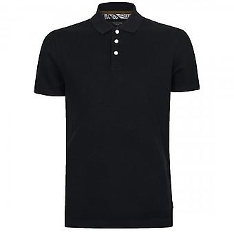 Ted Baker GForce Short Sleeve Ribstart Textured Polo Shirt Navy