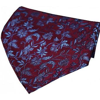 David Van Hagen Small Flowers Silk Handkerchief - Wine Red/Blue