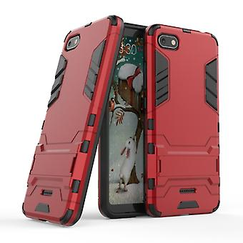 HATOLY iPhone 8 - Robotic Armor Case Cover Cas TPU Case Red + Kickstand