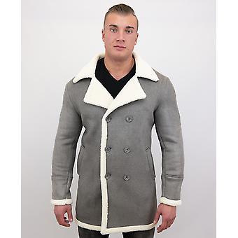 Manteau en fausse fourrure long-Lammy Coat-Grey