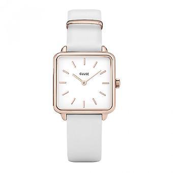 Cluse Cl60006 La Tetragone Różowe złoto i biały skórzany zegarek
