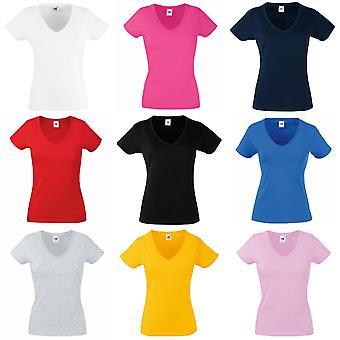 Vrucht van de Loom dames Lady-Fit Valueweight v-hals korte mouw T-Shirt