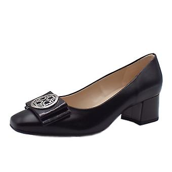 Peter Kaiser Patty Mid Heel Wide Fit Court Shoes In Black