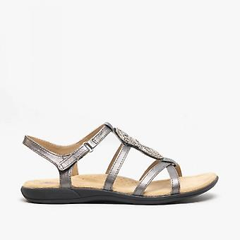 Earth Spirit Vancouver Ladies Leather Sandals Pewter