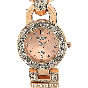 Prince London Rose Goldtone Crystal Set Metal Bracelet Strap Ladies Watch PI-7061