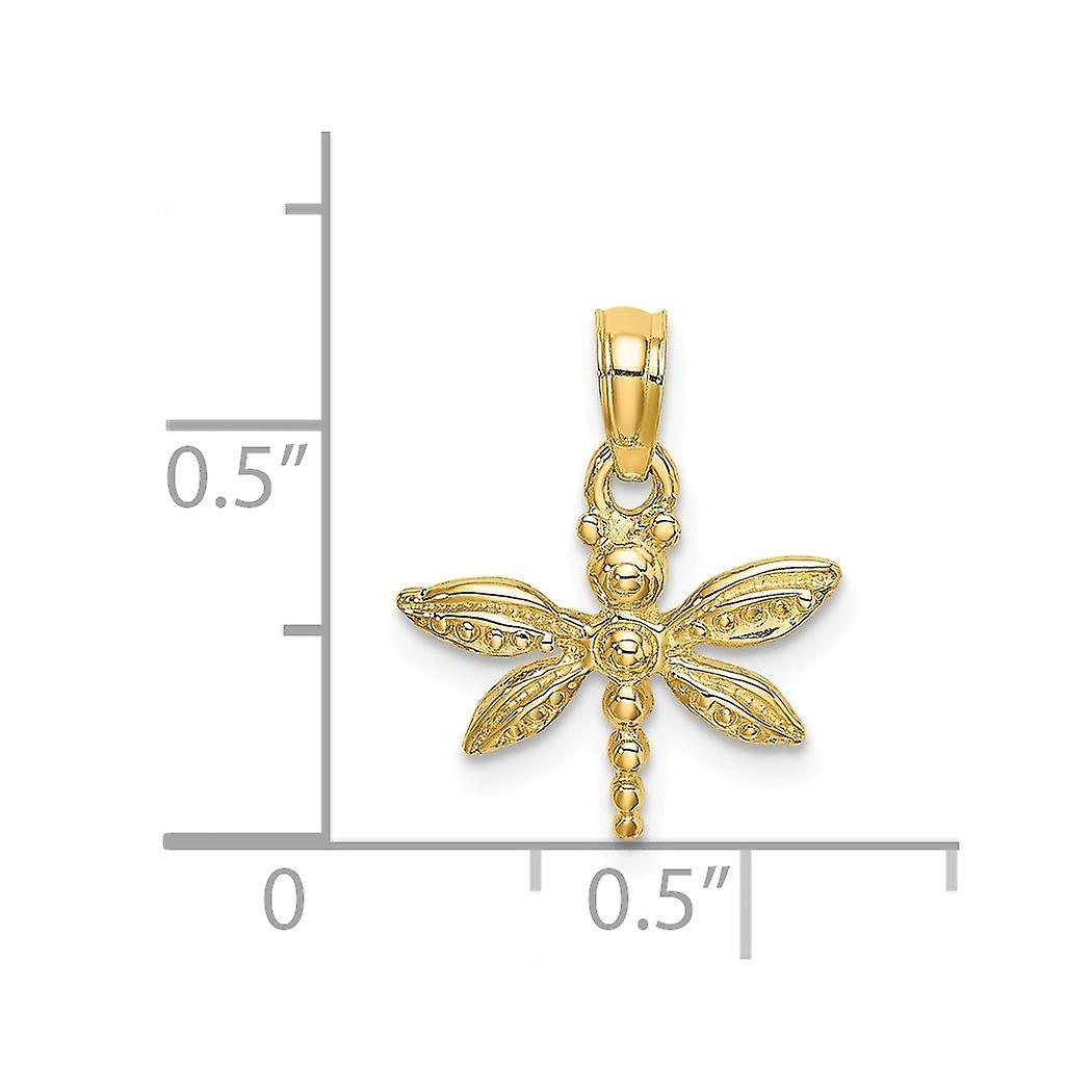 14k Gold Mini Dragonfly With Solid Angel Wings 2 d Charm Pendant Necklace Jewelry Gifts for Women