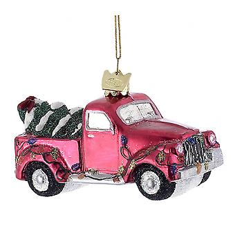 Kurt Adler Noble Edelstenen Red Pick-up Truck met Tree Holiday Ornament Glas