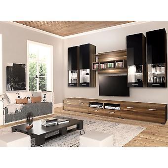 Mobile TV-Tür Pompeji Farbe Nussbaum, hellschwarz, Nussbaum in Chip, MDF, Glas 300x45x190 cm