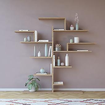Libreria Tree Color Legno Naturale in Truciolare Melaminico 175x25x161 cm
