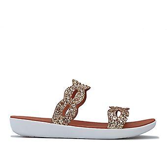 Women's Fit Flop Kerstin Glitter Interlace Slide Sandals in Gold