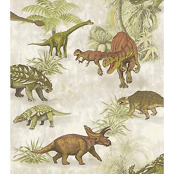 Rasch Dino dinosaurus wallpaper Jurassic Kids slaapkamer jongens meisjes groen beige T Rex