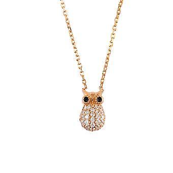 Latelita 925 sterlinghopea eläinten riipus kaulakoru viisas pöllö Rose kultaa Pink CZ