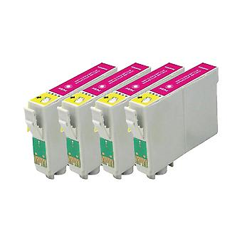 RudyTwos 4x Replacement for Epson 18XL(Daisy) Ink Unit Magenta Compatible with Expression Home XP-102, XP-202, XP-205, XP-212, XP-215, XP-225, XP-30, XP-33, XP-302, XP-305, XP-312, XP-315, XP-322, XP-