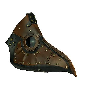 Black and Brown Vintage Patched Plague Doctor Costume Mask