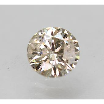 Cert 0.51 Carat Yellow Brown SI2 Round Brilliant Enhanced Natural Diamond 5.1mm