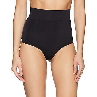 Arabella Women's Shine ve Mat Dikişsiz Yüksek Bel Şekil Giyim Tanga, Siyah, ...