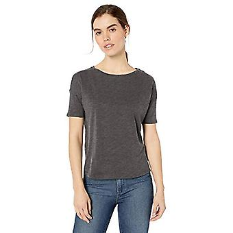 Brand - Daily Ritual Women's Lightweight Lived-In Cotton Short-Sleeve Drop-Shoulder T-Shirt, Charcoal Heather, Medium