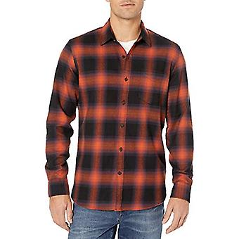 Brand - Goodthreads Men's Long-Sleeve Brushed Flannel Shirt, Rust Blac...