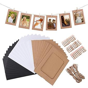10pcs Combinaison Diy Kraft Papier Image Frame With Clips Hanging Wall Photos