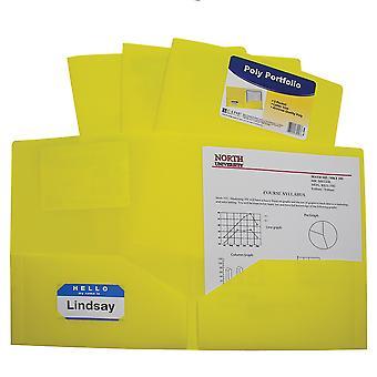 33956BNDL18EA, Carpeta de cartera de poliéster pesado de dos bolsillos, amarillo (conjunto de 18 carpetas)