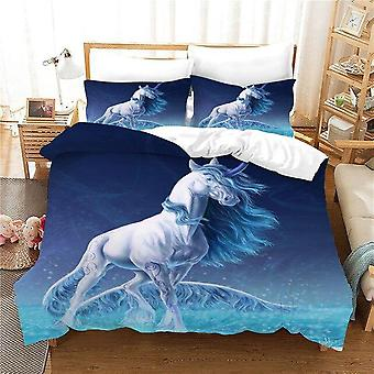 Unicorn Printed 3pcs No Sheets Quilt Cover And Pillow Case