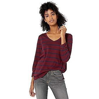 Brand - Goodthreads Women's Washed Jersey Cotton Long-Sleeve V-Neck T-Shirt, Bordeaux Open Stripe, X-Small