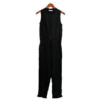 Side Stitch Jumpsuits (XXS)Sleeveless W/Tie Waist Black A375127