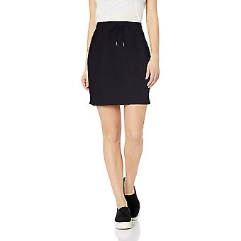 Daily Ritual Women's Terry Cotton and Modal Sweatshirt Skirt, Navy,Large