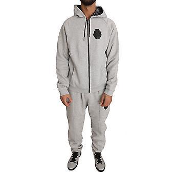 Šedý bavlnený sveter nohavice tepláková súprava BIL1026-2