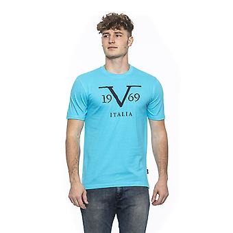 Turchese turquoise crew neck printed t-shirt
