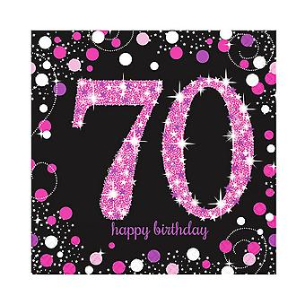 Amscan Sparkling Pink Celebration 70th Birthday Party Napkins (Pack Of 16)