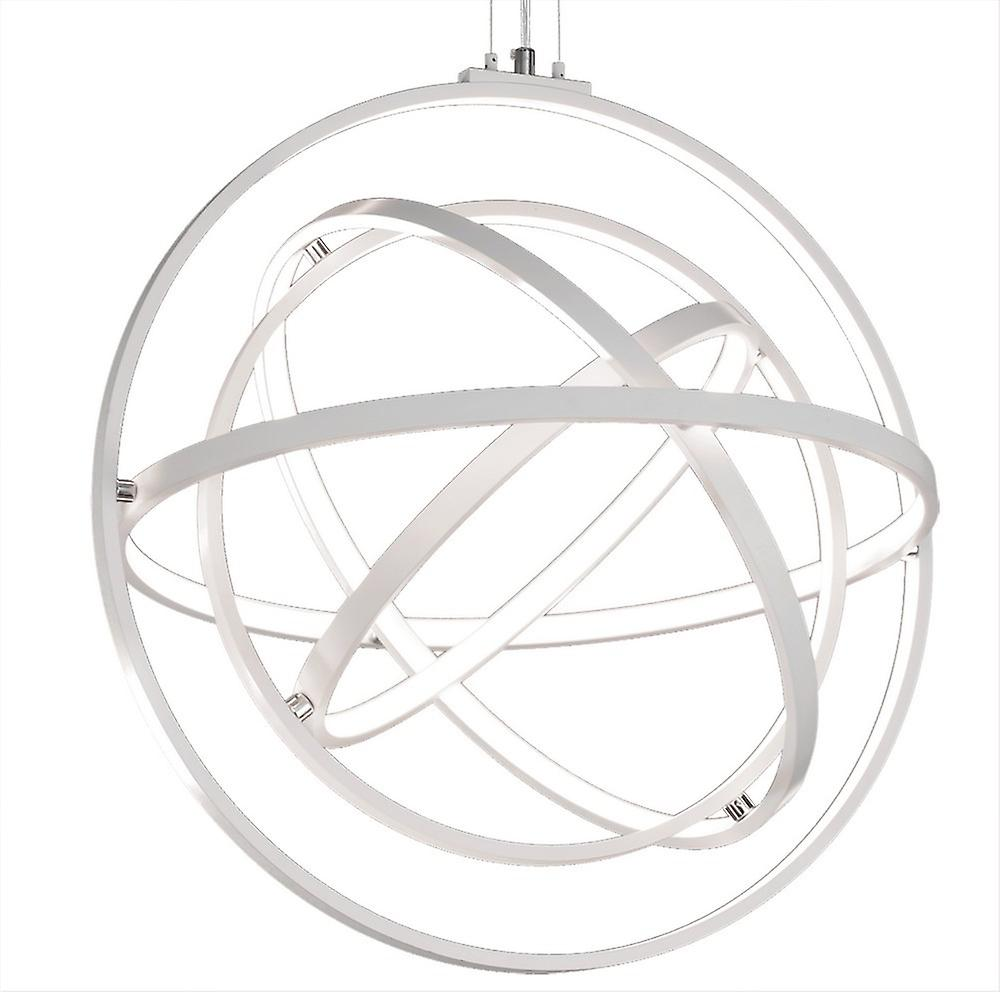 Ceiling Pendant Round 60cm, 4 Ring, 90W LED 3000K, 3250lm, RF Remote Control White