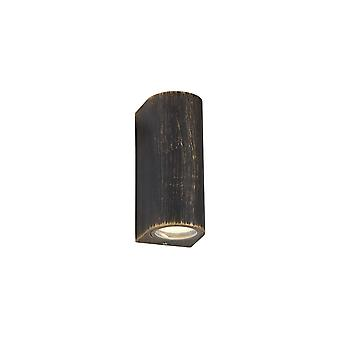 Éclairage Luminosa - Lampe murale incurvée, 2 x GU10, IP54, Noir, Or